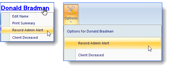 Record Admin Alert Clients Name & Options list
